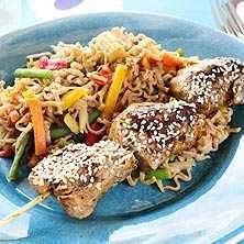 Teriyakispett med wokade grönsaker och nudlar