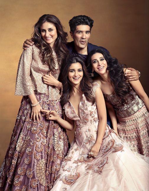 Kareena Kapoor, Karisma Kapoor & Alia Bhatt with Manish Malhotra for the Vogue India Magazine Dec 2015 Issue. On Kareena: Blouse, lehenga; both Manish Malhotra. 'Mughal Flower' bangle, Nirav Modi. On Alia: Gown, Manish Malhotra. 'Lotus Duet' ring, 'Lotus Pond' ring; both Nirav Modi. On Karisma: Blouse, lehenga, Manish Malhotra. 'Lotus Blossom' earrings, Nirav Modi