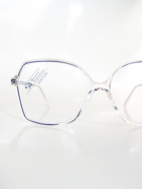 1980s Avant-garde Clear Oversized Granny Chic Glasses Womens New Wave Fashion Eighties Indie Hipster Chic German Germany Hipster Indie
