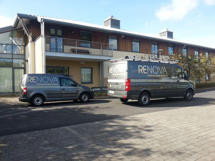 Shiny RENOVA vans outside Dublin Retrofit & Renovation company RENOVA www.renova.ie
