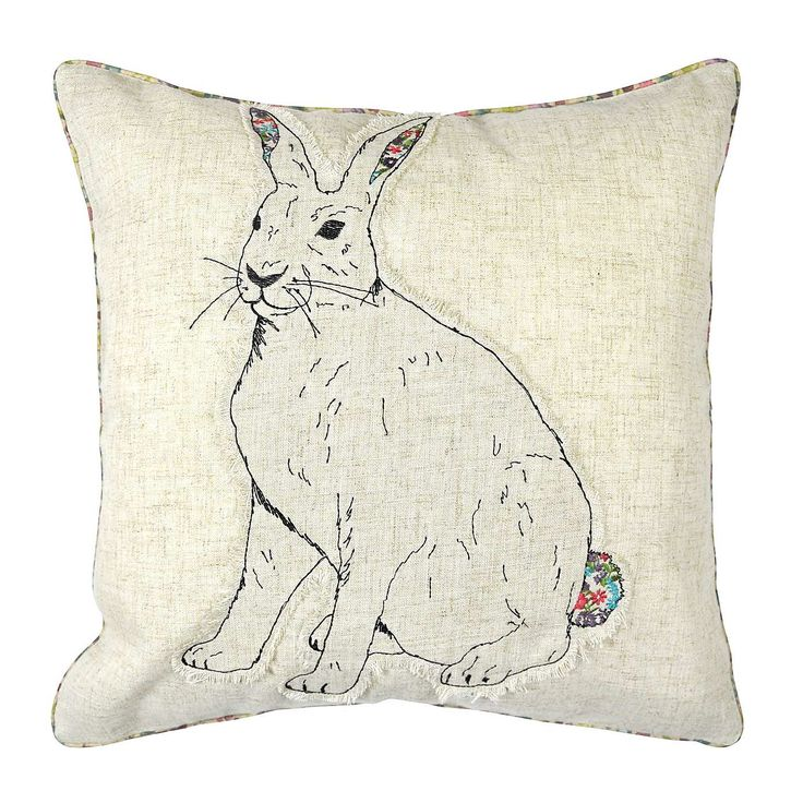 Add a cute touch to your home decor with this novelty cushion featuring an embroidered bunny design with a printed ditsy floral reverse and piping.