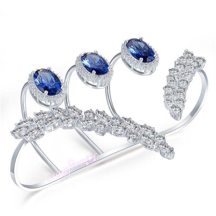 Chic Blue Austrian Crystal Zirconia Cluster Palm Cuff Hand Bracelet Bangle R1115