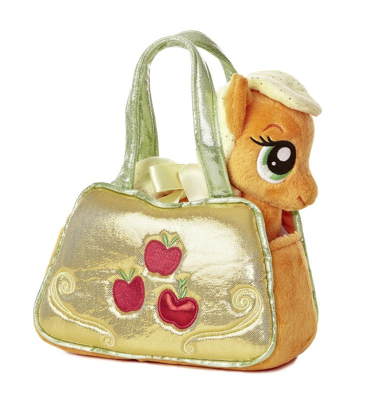 "6.5"" Apple Jack comes in a carrying purse featuring her cutie mark on one side and her name on the other. Apple Jack is a beautiful orange horse with a light yellow sparkly mane and tail. Includes a k"