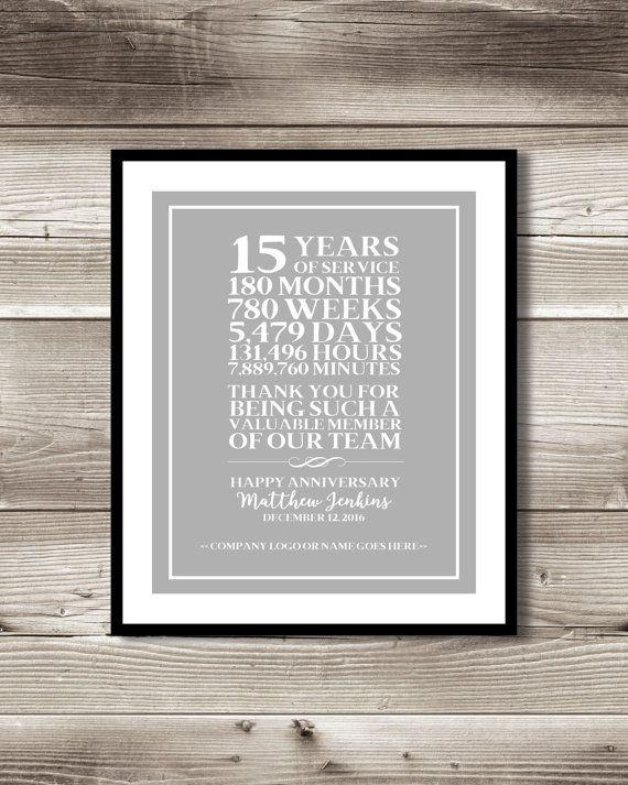15 Year Work Anniversary Print Gift Digital By Forevadesign 30th Wedding