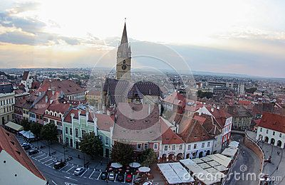 View from Sibiu ,Romania in the central of the old town where you can see interesting architecture from the area.