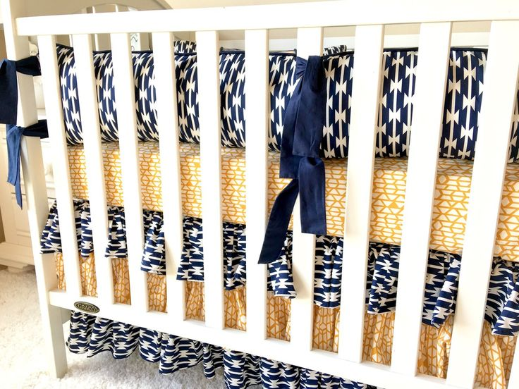 Baby Bedding - Mint, Navy, and Gold Aztec