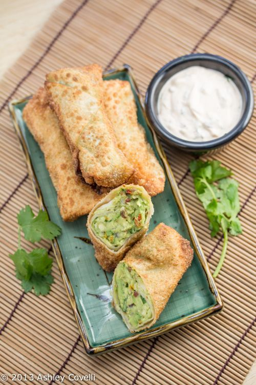 Avocado Egg Rolls with Chipotle Ranch Dipping Sauce.