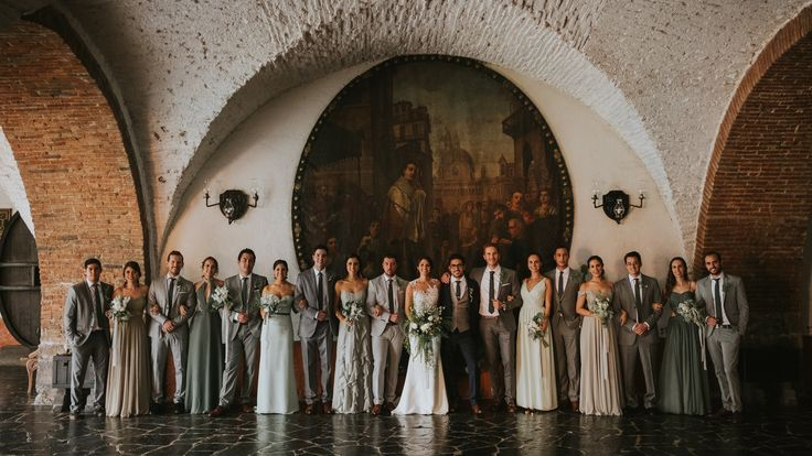 Hotel Hacienda Vista Hermosa wedding in Tequesquitengo Mexico. Photography by Joel + Justyna Bedford; Gray and green bridesmaids dresses;