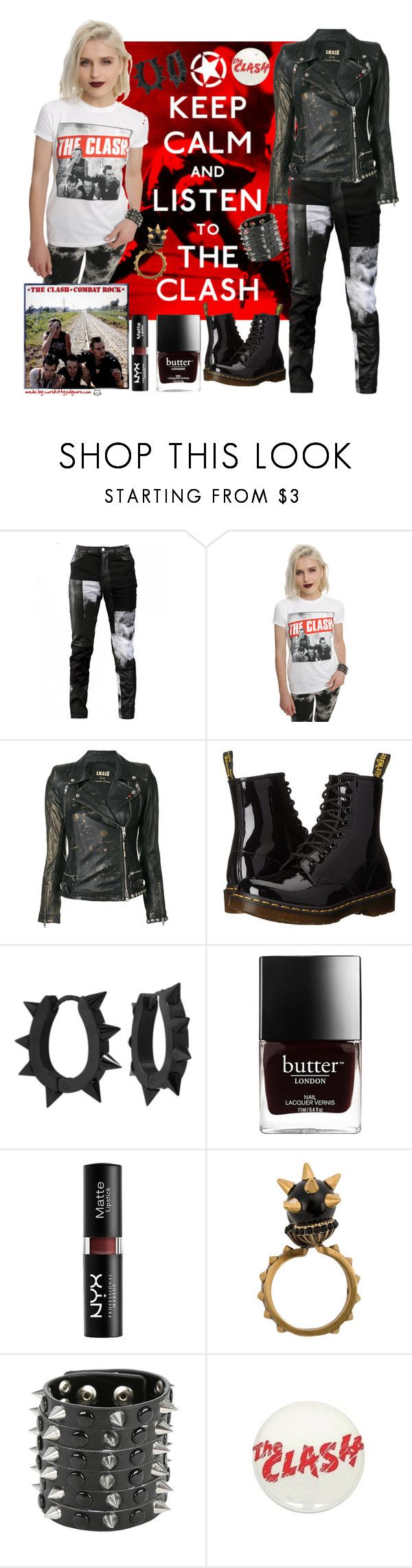 """The Clash: Combat Rock!"" by curekitty ❤ liked on Polyvore featuring Any Old Iron, s.w.o.r.d 6.6.44, Dr. Martens, West Coast Jewelry, NYX, Gucci and Hot Topic"