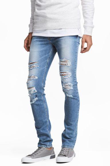 Skinny Low Trashed Jeans - Azul denim - HOMBRE   H&M ES 1