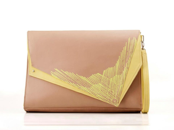 Screenprinted nude leather handbag with yellow pattern by BLACKLIST
