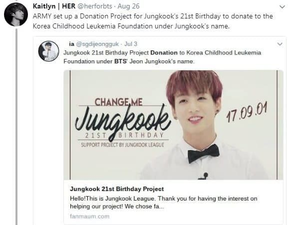 Bts Armys Donate In The Name Of Jungkook Birthday Bts Birthday Projects Bts Army