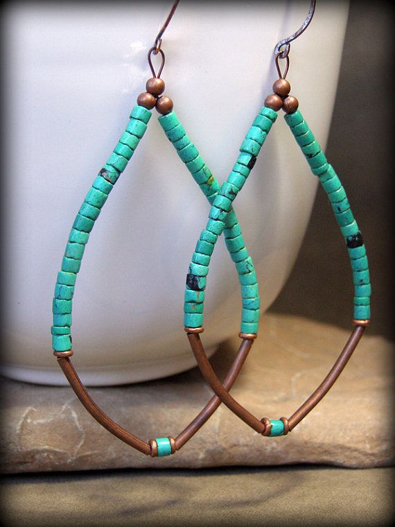 Nice!: Earrings Southwest, Turquoise Beads Earrings, Earrings Hoop, Handmade Turquoise Jewelry, Turquoise Earrings, Hoop Earrings, Turquoise Jewelry Diy, Copper Earrings Beads, Earrings Handmade Boho