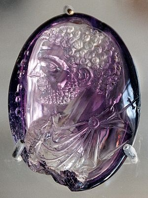 Roman intaglio portrait of Caracalla in amethyst, once in the Treasury of Sainte-Chapelle in Paris, when it was adapted by adding an inscription and cross to represent Saint Peter.