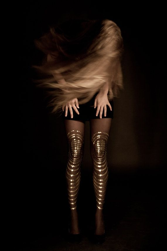EXCLUSSIVE Hand Printed Tights -  Goldfish, Gold on sheer black color, Flash Back collection. $39,00, via Etsy.