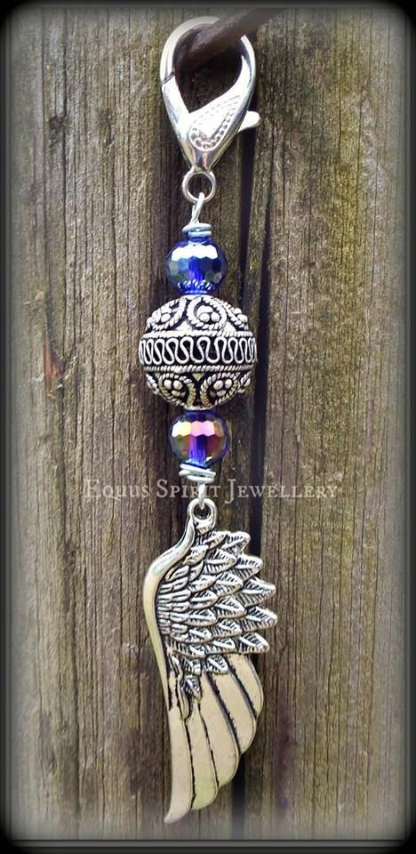 Purple beaded Bali style angel wing by EquusSpiritJewellery