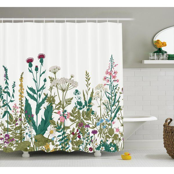Eloise Flowers Leaves Single Shower Curtain Boho Shower Curtain