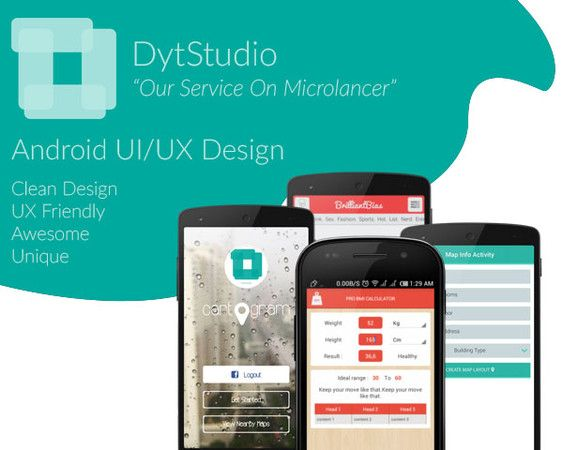 Android UI/UX design and android xml development by www.dytstudio.com