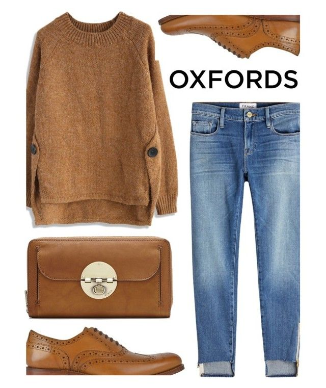 """* o x f o r d s * (1)"" by queenrachietemplateaddict ❤ liked on Polyvore featuring Chicwish, Frame, Grenson, Clutch, Oxfords, Sweater and jeans"