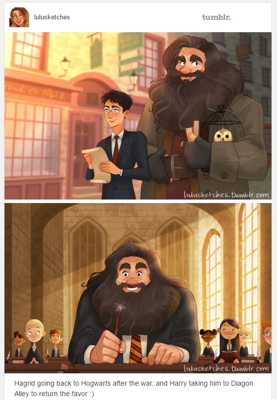 Dawww. Harry taking Hagrid back to finish his Hogwarts education.