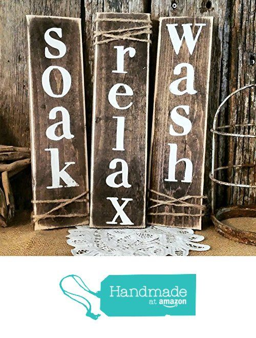 Rustic Primitive Bathroom Decor set of three wooden signs from Peach & Timber CO. http://www.amazon.com/dp/B016J46G4O/ref=hnd_sw_r_pi_awdo_0kzIwb0RRH4CV #handmadeatamazon