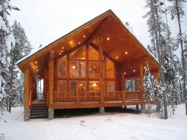 beautiful modern cabin in the snow                                                                                                                                                                                 More