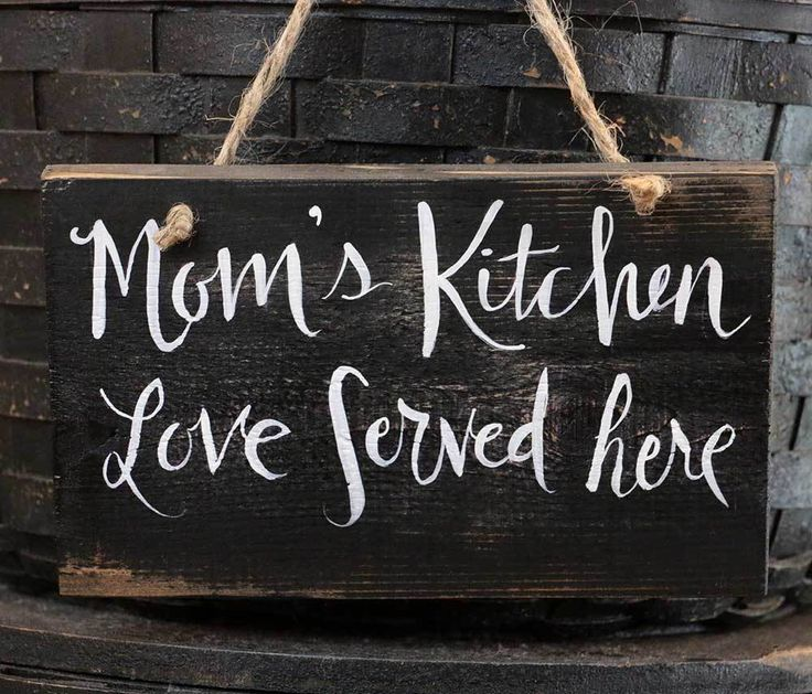 Kitchen Wooden Sign Distressed Rustic Mom's Kitchen Love Served Here 6 inch #Handmade #RusticPrimitive