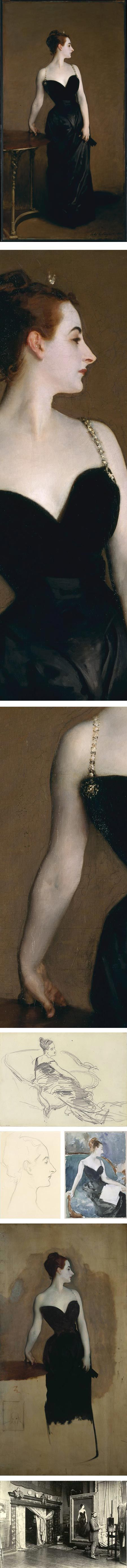 Unfinished full size study, including original pre-censorship dangling shoulder strap, of John Singer Sargent's Madame X