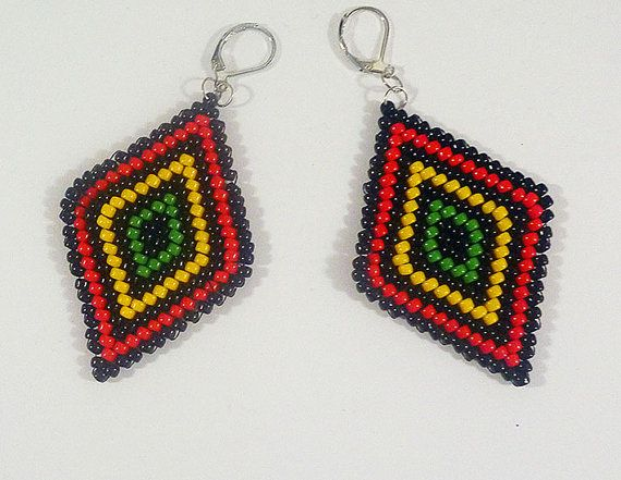Handmade beads embroidery earrings    turqoise by IzabelaCichocka