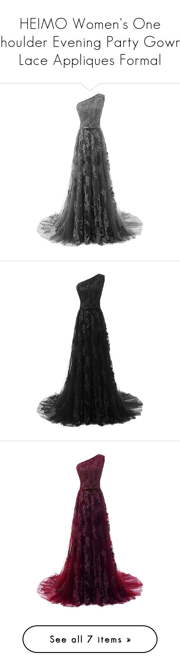 """""""HEIMO Women's One Shoulder Evening Party Gowns Lace Appliques Formal"""" by qwertyuiop-sparta ❤ liked on Polyvore featuring dresses, long white dress, white party dresses, white formal dresses, white lace dress, white prom dresses, cocktail dresses, cocktail party dress, holiday party dresses and formal cocktail dresses"""