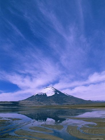 Lake Chungara, Highest Lake in the World (4,500M), Parinacota Volcano, Lauca National Park, Chile Posters by Pete Oxford at AllPosters.com