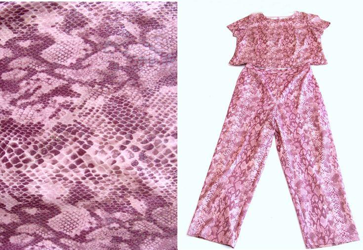 Vintage snake print pant suit-1980's pink pant suit -80s pantsuit-vintage punk snakeskin shirt pants set-purple snakeskin top  pants outfit by BECKSRELICS on Etsy