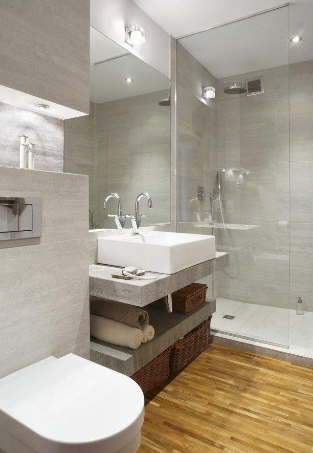 17 best images about d co la salle de bain on pinterest mirror cabinets sa - Amenagement salle de bain petite surface ...
