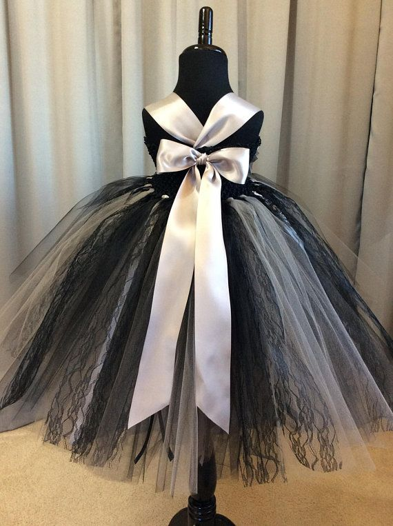 8284c5342e Black and silver with black lace flower girl dress tulle tutu