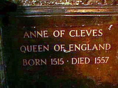 Anne of Cleves burial is in Westminster Abbey. (I have seen all the burial places of the six wives)