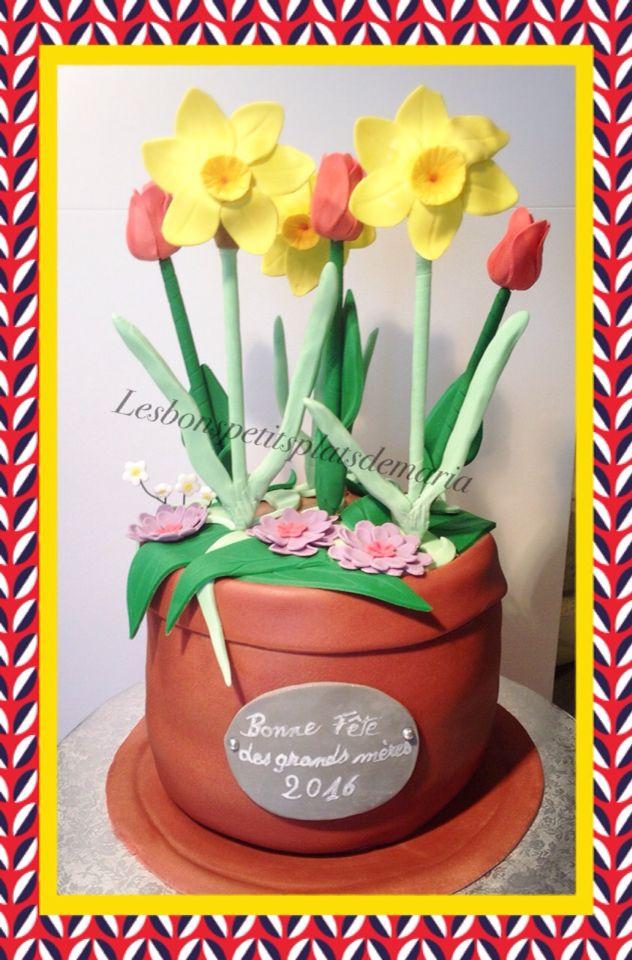 Gâteau jonquilles et tulipe