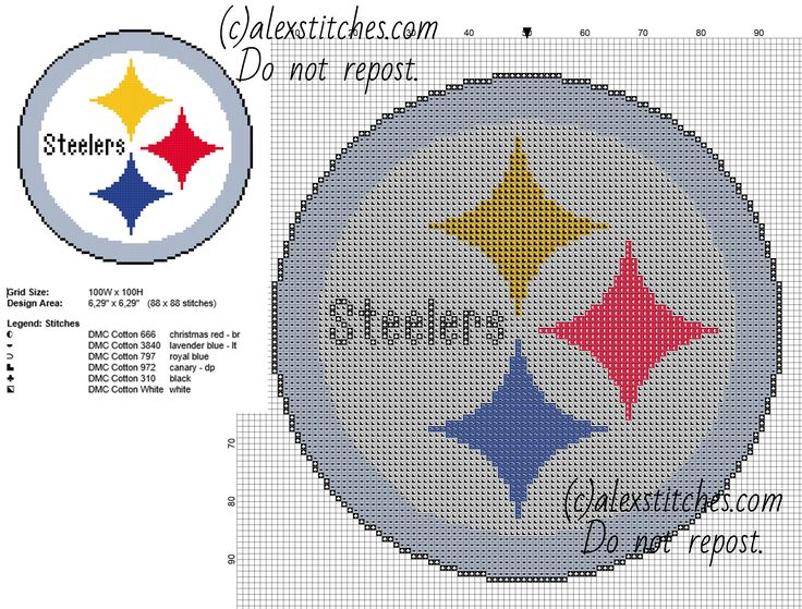 Steelers Plastic Canvas Coaster Pattern