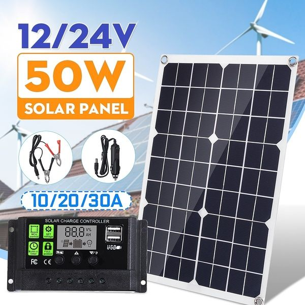 Waterproof 50w 12v 24v Dual Output Usb Port Solar Panel Only Or Solar Panel Kit With Controller 10w 20w 30w Wish Solar Power Kits Flexible Solar Panels Solar Panel Kits