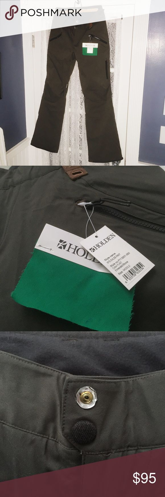 ** NWT Holden Chloe Snowboard Pants ** Brand new, with tags. Emerald/Bone color. Tailored fit, flattering! Size medium. Single blemish: the felted button face on the top waist button is missing but doesn't affect function. Not North Face, not Burton, not Oakley. Holden Pants
