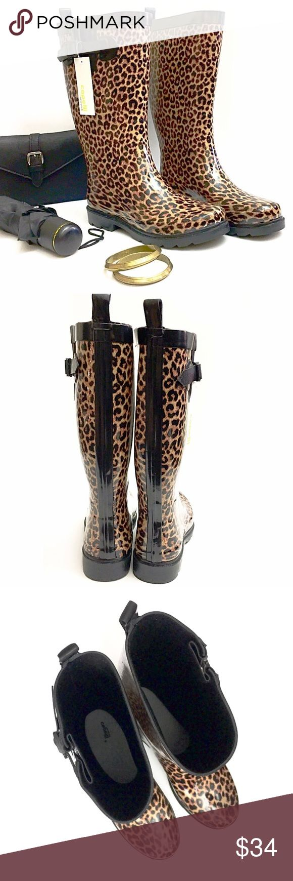 """Capelli New York Leopard Tall Rubber Rain Boots Stay stylish when the rain falls with these chic rubber rain boots from Capelli New York featuring an exotic leopard pattern and top buckle. Heel height is 1.25"""" with 13"""" shaft heights and 15-3/4"""" shaft circumferences. Brand new with tags! Retails $64 Capelli of New York Shoes Winter & Rain Boots"""