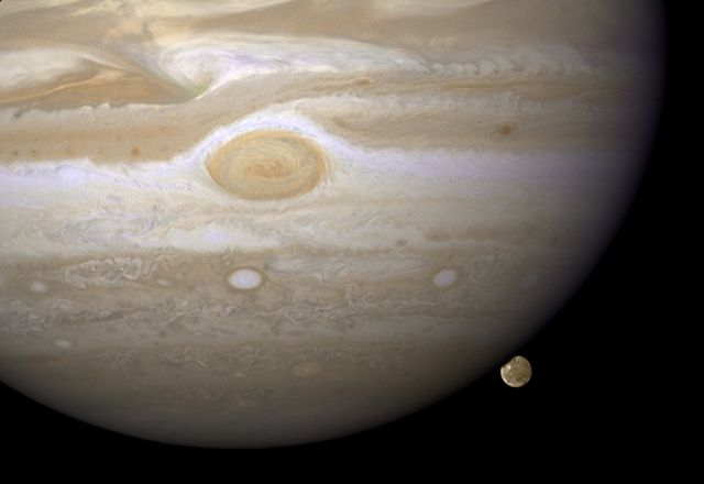 jupiter and its largest moon ~ credit: nasa, esa, and e. karkoschka (university of arizona)Planets, Solar System, Hubble Spaces Telescope, Hubble Image, Cosmo, Final Frontier, Jupiter Moon, Largest Moon, Hubble Space Telescope