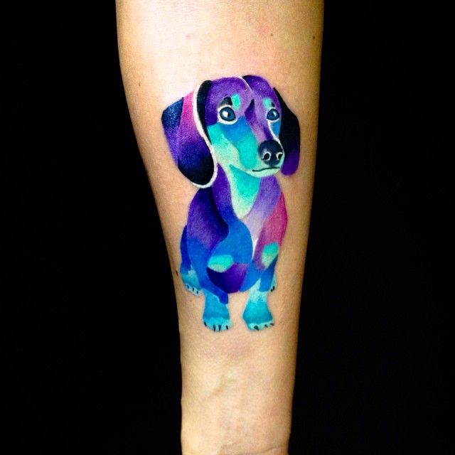 Watercolour Doxie. So vibrant!!