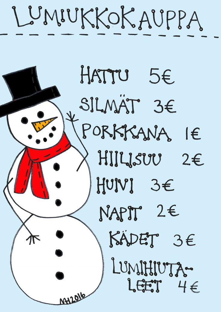 Lumiukkokauppa, värillinen - aop, anna oppilaalle summa rahaa, hän ostaa lumiukon osat ja piirtää lumiukon.