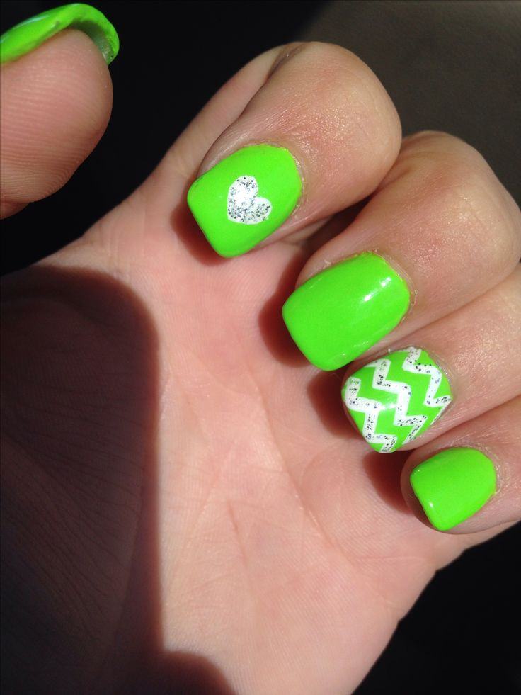 Luscious lime!! Green nail art 2014 chevron heart glitter. Love.