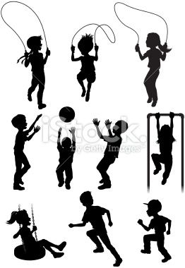 Silhouettes of children playing Royalty Free Stock Vector Art Illustration