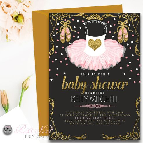 Pink Tutu Baby shower invitation Glitter and gold ballerina - Pink Nerd Printables