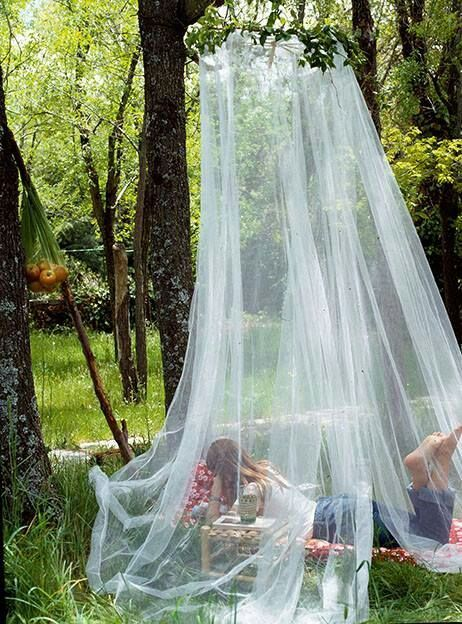 Yurts, Mosquito Nets over seating areas
