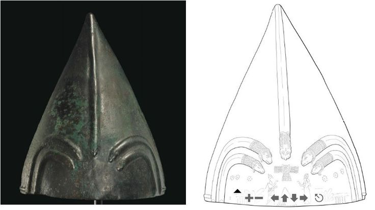 Urartian helmet, circa 9th-8th century B.C. Formed of hammered sheet, conical in form, tapering to a point, the front with four raised arches, each terminating in a ram head, and a central rib descending along the front with a lion head terminal, a winged sun disk of Shamash above a mountain incised below, flanked by two heraldic royal figures, each with a hand raised in adoration, 26.7 cm high  Private collection, from Christie's auction
