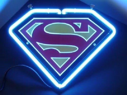SD023 Superman Hero Comics Beer Bar Pub Display Neon Light Sign New Gift