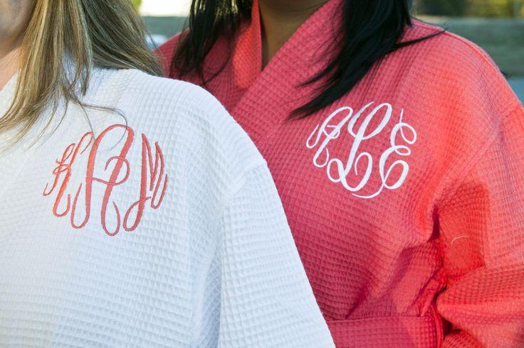 Monogrammed Waffle Robe, Personalized Bridesmaids Gift, Bridesmaid Robe, Coral Waffle Robe, Personalized Waffle Robe c by shopmemento on Etsy https://www.etsy.com/listing/178241638/monogrammed-waffle-robe-personalized